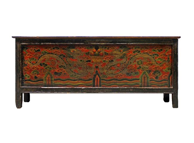 Vintage Hand Painted Pine Wood Offering Table From Tibet, China