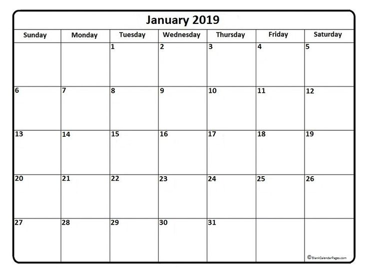 January 2019 Calendar Printable PDF #Printable #Templates