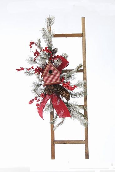 Jeffrey Alans Christmas Floral Designs 2013 Collection Handmade Wreaths, Swags, and Arrangements LOVE the gingham birdhouse!