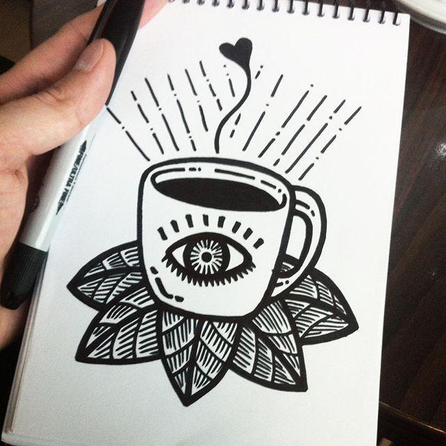 Pablo Contreras. -- Café en un café #illustration #drawing #coffee #ilustracion #dibujo #ink #tattoo #tatuaje #sharpie #sinboceto #sharpieinkcreations