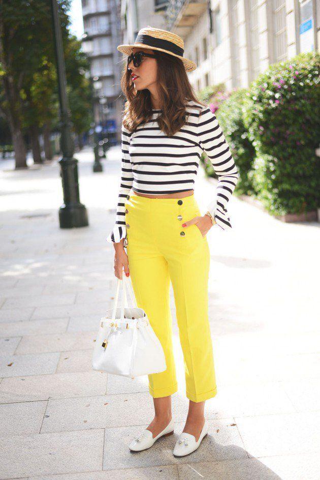 Gele capri met zwart wit top
