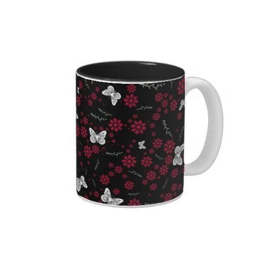 flower butterflies Two-Tone #coffeemug