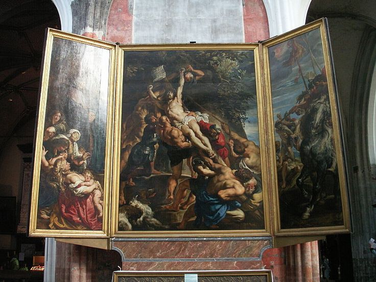 Peter Paul Rubens - Питер Пауль Рубенс (1577–1640) The Raising of the Cross,  ок. 1610 460 × 340 см Собор Антверпенской Богоматери   Rubens painted the Moretus triptych with the Resurrection of Christ on the centre panel) in 1611-12, shortly after completing the Raising of the Cross and at about the same time as the centre panel of the Descent from the Cross.