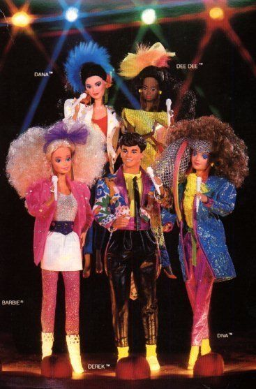 Mine was the Barbie with the white skirt. We're Barbie and the Rockers--Rockin now we are totally in the groove. In the groove!