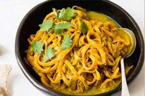 Spirelli Recept: Tagliatelle van zoete aardappel, kerrie en kokosmelk | Spiraalsnijder Kopen