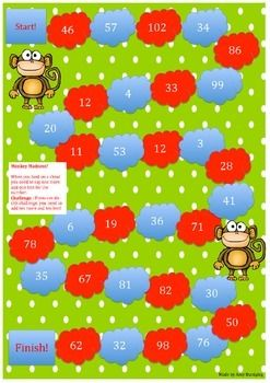 This game is an A3 board game that challenges students to think about what comes before and after the numbers. There is also an option to challenge 10 more and 10 less. My students love playing these board games and thought I would share.