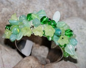 Fields of Green *SOLD but available again soon*     Stunning silver plated, expandable cuff covered in a mass of beautiful Czech glass beads in varying shapes and sizes.    Stunning worn, and sounds amazing.    £20.00 *SOLD* << More to be made very soon in different colours. Please ask.