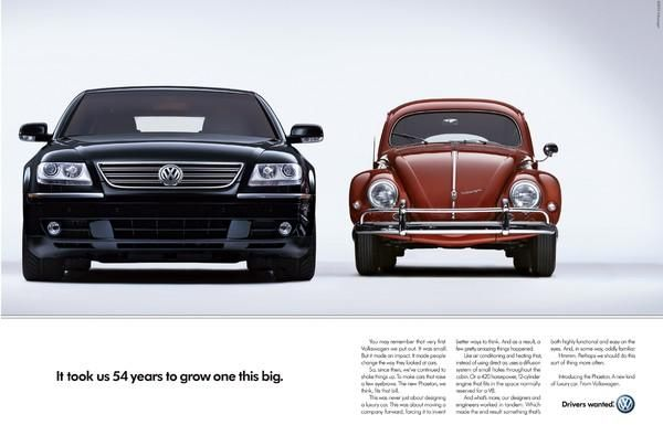 "VW Phaeton ad: ""It took us 55 years to grow one this big.""  The Print Ad titled 54 YEARS was done by Arnold Worldwide advertising agency for product: Volkswagen Phaeton (brand: Volkswagen) in United States. It was released in the Apr 2004."