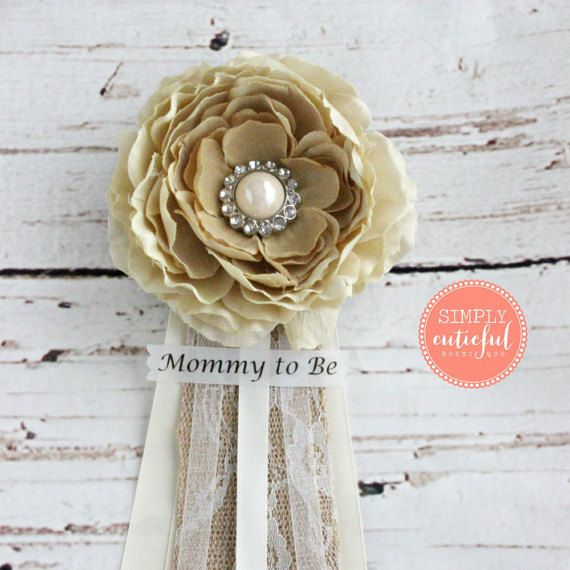 Vintage Burlap Baby Shower Corsage with Mommy to by simplycutieful