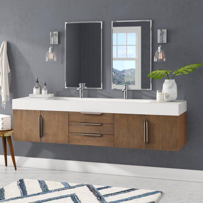 Hukill 72 Wall Mounted Double Bathroom Vanity Set Contemporary Bathroom Vanity Double Vanity Bathroom Modern Vanity