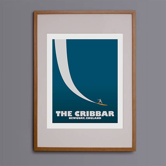 A stunning design inspired by the legendary big wave surf spot in Newquay; The Cribbar. This print works well on its own but also with its sister surf spots in this series; Mavericks, Nazare and Peahi - designs which we are happy to list for sale upon request. Please drop us a message if you would be interested in these other designs. This print will make a fantastic gift to any surfer, and the vintage style is incredibly popular. This design started life as a hand drawn sketch, and was…