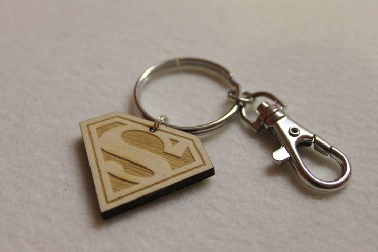 Custom Personalised Car Logo SuperMan  SuperDad Dad Symbol Keychain Keyrings Gift Wood laser engrave by FeelMyCraft on Etsy