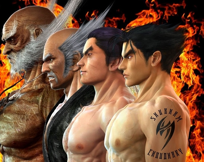 Jinpachi, Heihachi, Kazuya Mishima and Jin Kazama.... Father, Son, Grandson and Great Grandson