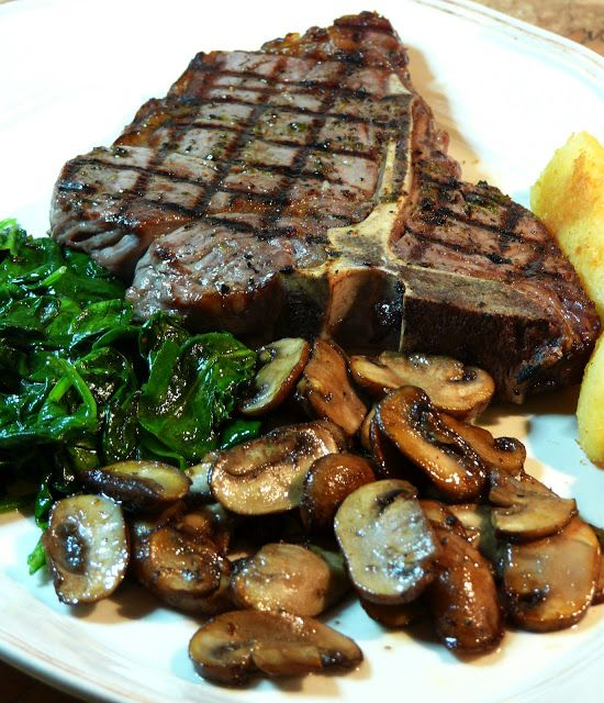 Grilled T-Bone Steak with mushrooms and sautéed spinach