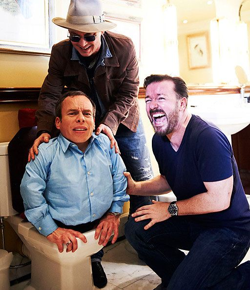 Ricky Gervais and Johnny Depp pushing Warwick Davis into a toilet---I love Ricky Gervais' face in this!!! That's pure gut wrenching, crying, peeing ur pants laughter!!