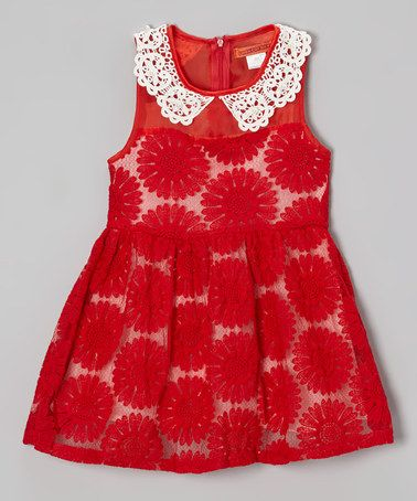 Take a look at this Red Floral Lace Collar Dress - Toddler & Girls by Funkyberry on #zulily today!
