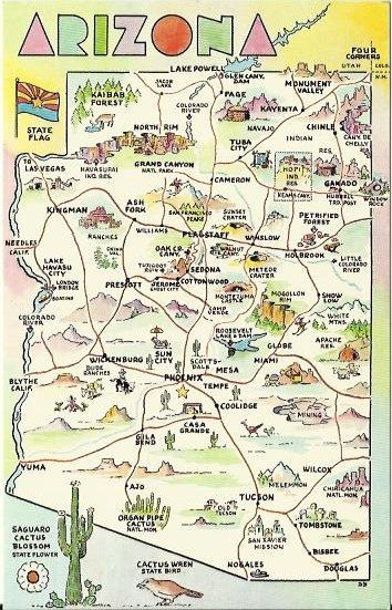 Vintage State Map Postcard Arizona State by postcardsintheattic, $3.95