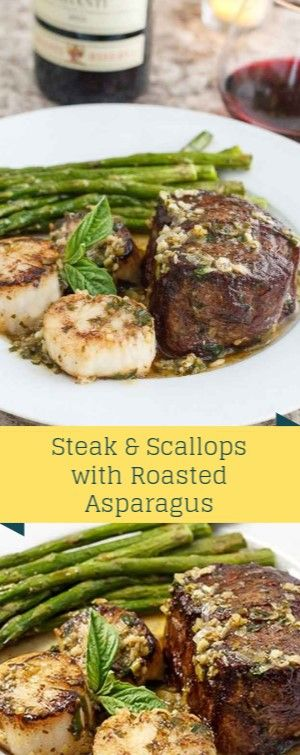 Steak & Scallops with Roasted Asparagus Scampi-Style Steak & Scallops with Roast…