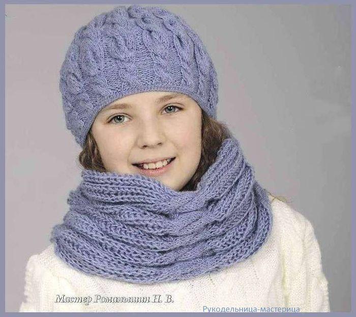 Озорные петельки: Голубой комплект - шапка, шарф.