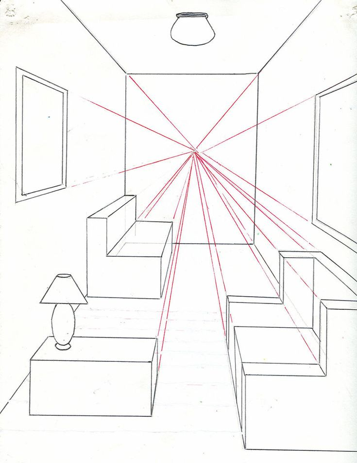 One Point Perspective- all vertical lines are drawn vertically, all lines perpendicular to the line of sight are drawn horizontally. Lines parallel to the line of sight converge at a single vanishing point.