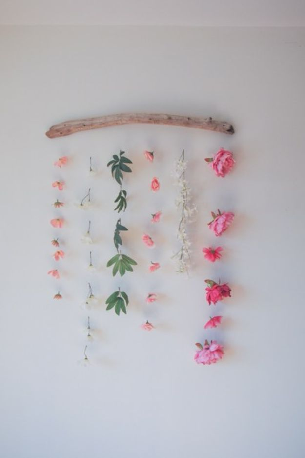 35 Diy Wall Hangings For The Home Diy Flower Wall Hanging Flower Wall Fake Flowers Decor