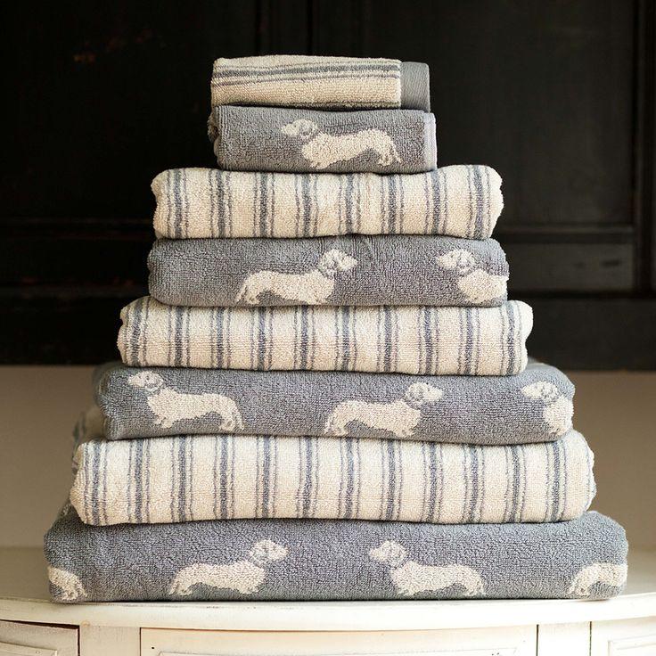 Emily Bond - Grey Dachshund Jacquard Towel - Bath Towel