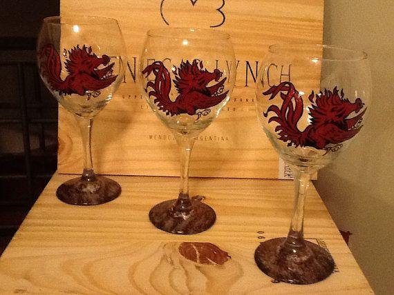 Hand+Painted+South+Carolina+Gamecock+Wine+Glass+by+brandiedmonds