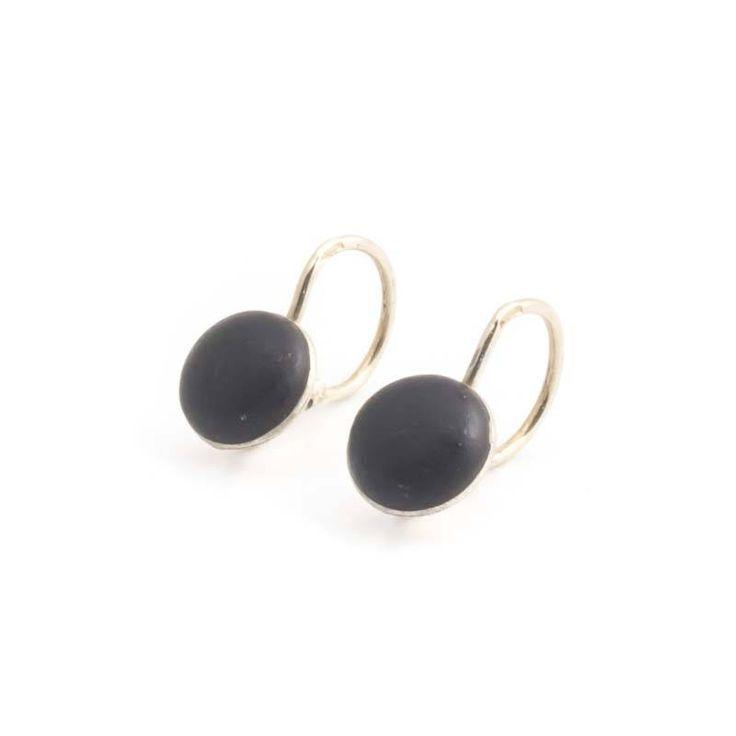 Zwarte antieke oorbellen in verguld zilver