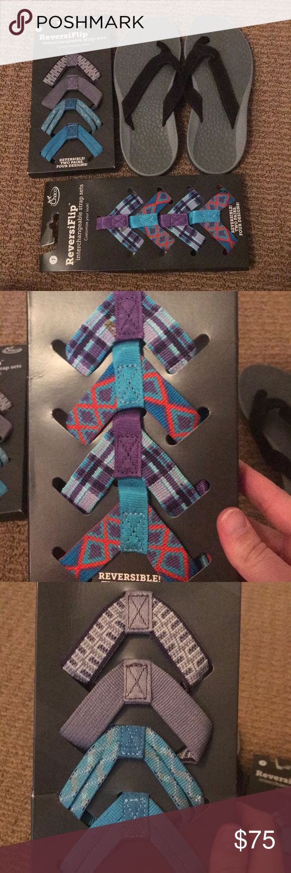 Chaco Flip Flip w/ 8 reversible straps! BRAND NEW ✨BRAND NEW✨ Chaco flip flops with 8 additional, reversible straps! Customize your look endlessly! 7W Chaco Shoes Sandals