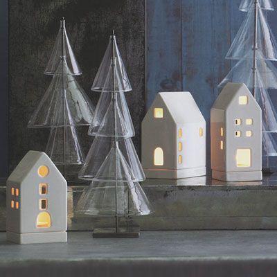 Tea Light Candle Houses Christmas Gift Decoration Set of 3   NOVA68 Modern Design