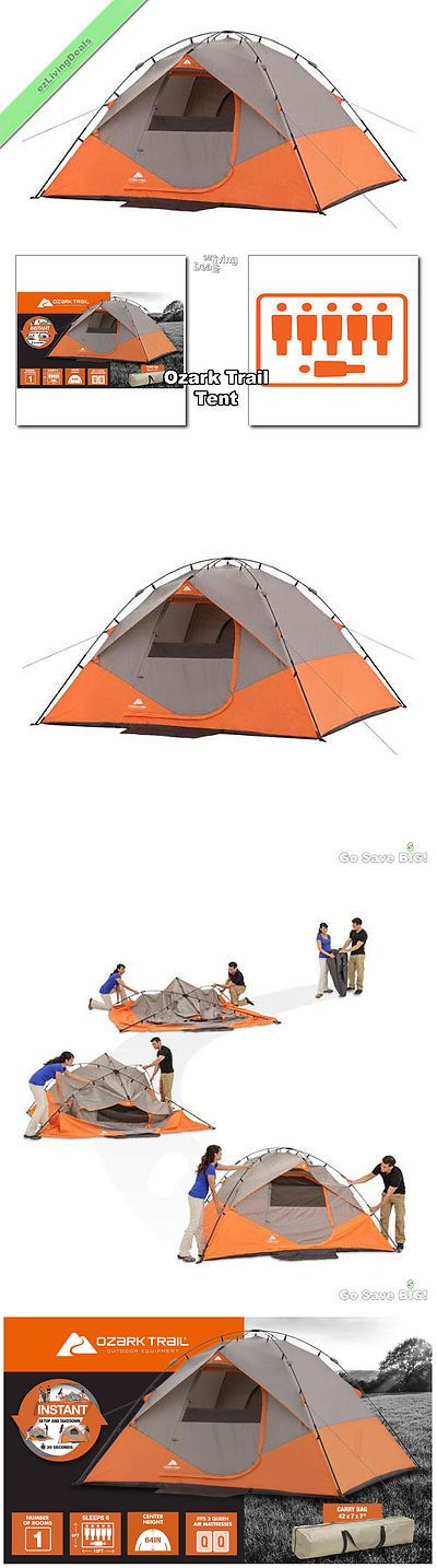 Tent and Canopy Accessories 36120: Ozark Trail Instant Tent 6 Person 10X9 Outdoor Camping Family Dome Tents Orange BUY IT NOW ONLY: $102.57