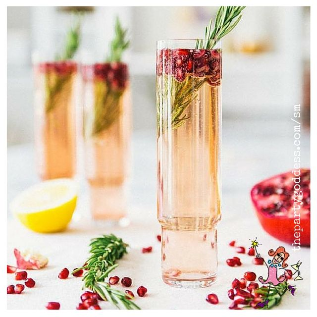 Get this Pomegranate Rosemary Spritzer recipe and other holiday drink recipes that we found on Pinterest at https://thepartygoddess.com/10-thanksgiving-inspired-cocktails/