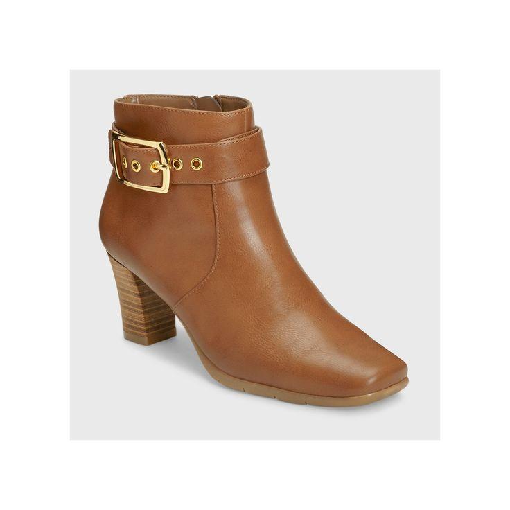 Women's A2 by Aerosoles Monorail Ankle Boots - Dark Tan 10.5 Wide Width