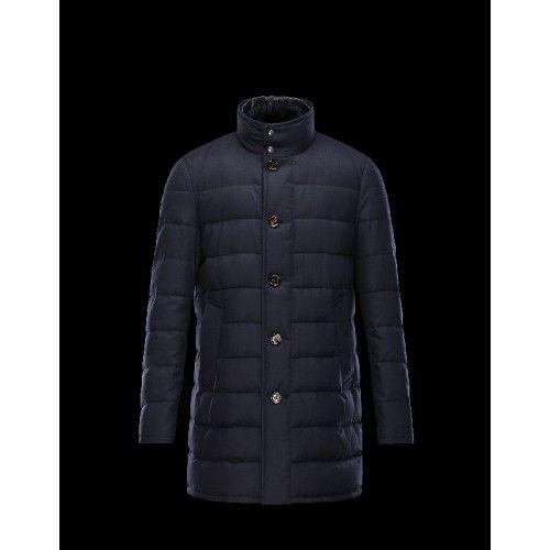 Doudoune Moncler VALLIER Detachable Turtleneck Dark Bleu Blouson Wool Flannel Homme 41456697GL Soldes