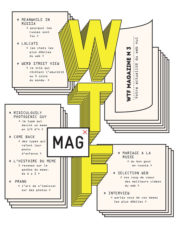 WTF magazine deals humorously with different phenomena present on internet which has the goal to make us laugh. It's not just an encyclopedia, but a study of different types of web humor. On this gigantic platform, it's often difficult to sort. WTF magazi…