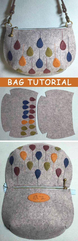 Photo Tutorial: How to Make Bag Felt. DIY step-by-step. http://www.handmadiya.com/2015/10/felt-bag-tutorial.html #diybag