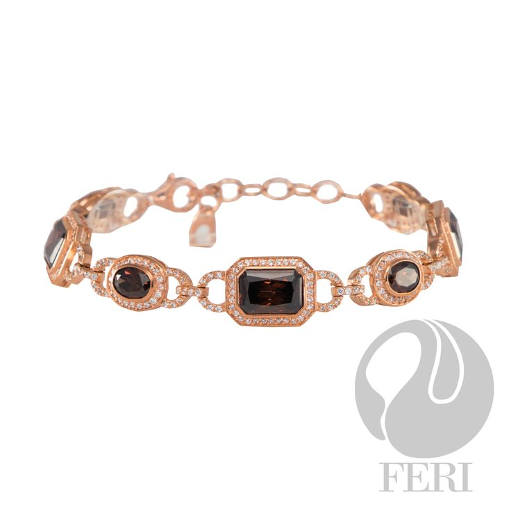 """FERI - Eternal Vow - Bracelet - Exclusive FERI 950 Siledium silver - Exclusive dual natural rhodium and palladium plating - Exclusive 3 micron rose gold plating - Set with exclusive FERI Swan cut lab stones - Colour: white and a rich mahogany colour - Dimension: 145mm (5.71""""), with 30mm (1.18"""") extender - Wt. 16.5/gm. - Oct. 3-10x7mm, Oval. 4-7x5mm   www.gwtcorp.com/ghem or email fashionforghem.com for big discount"""