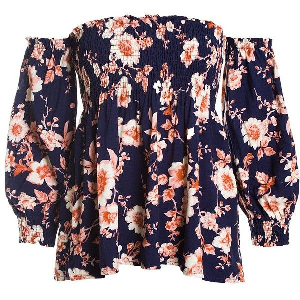 Sans Souci Navy smocked off shoulder floral top ($34) ❤ liked on Polyvore featuring tops, navy, navy pullover, blue off the shoulder top, sweater pullover, blue top and floral print tops