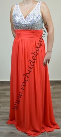 Rochie de seara portocalie, cu strasuri si paiete #rochiidesearaportocalii #rochiidesearacuaplicatii #orangeeveningdresses