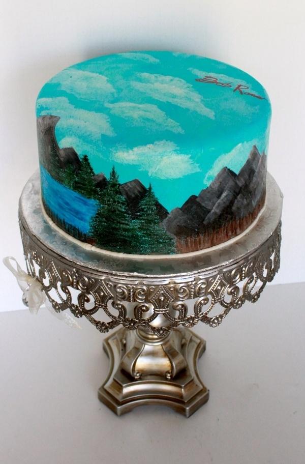 hand painted landscape cake Bob ross, Cake, Bob ross