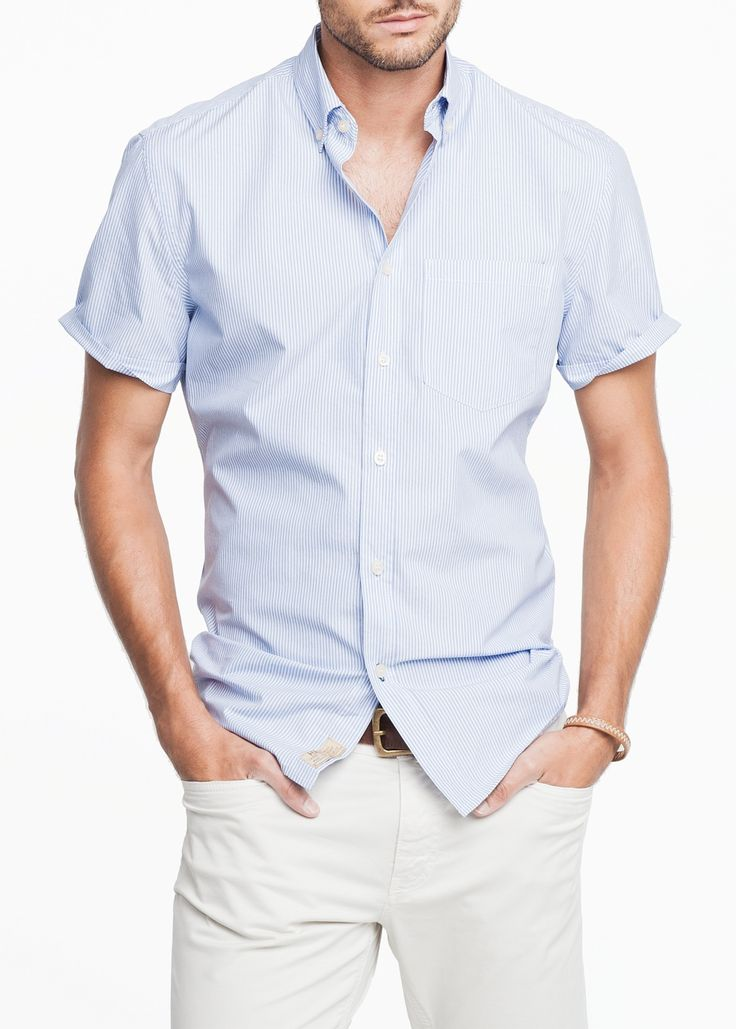 Camisa slim-fit rayas manga corta - Hombre | OUTLET