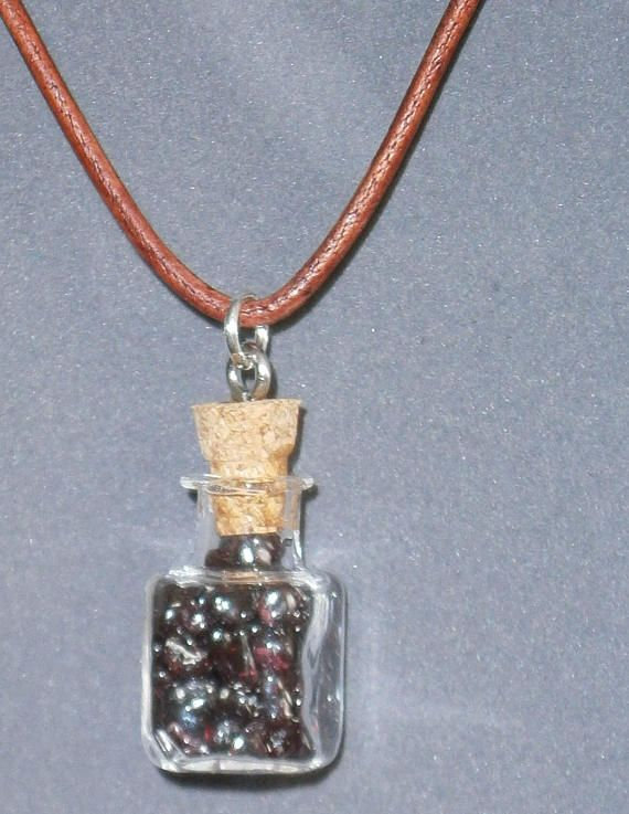 Garnet Gemstone Healing  Glass  Leather Pendant Necklace 16
