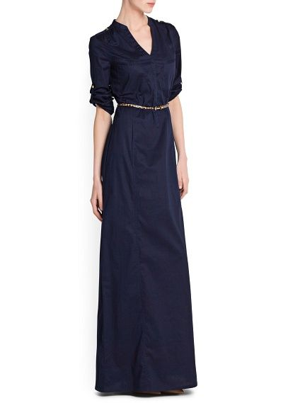 SHIRT COTTON LONG DRESS at Mango