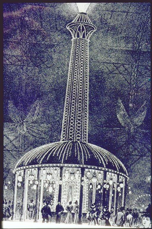 "The ""majestic luminous column"" that illuminated the Electrical Building at the Chicago World's Fair, 1893. The structure included thousands of incandescent light bulbs. Westinghouse Corp. lit the Fair, using Nikola Tesla's invention of alternating current."