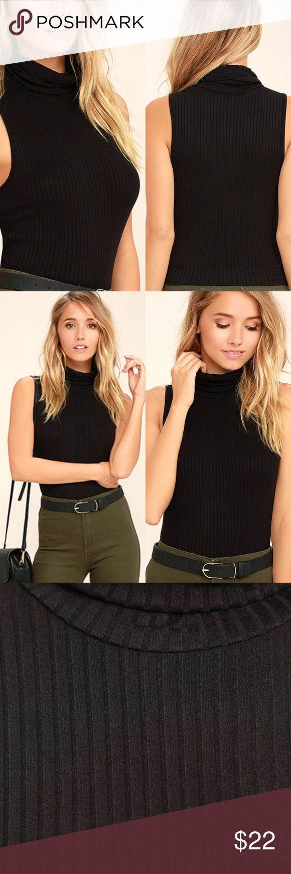 NEW Black Turtleneck crop top This stretchy ribbed knit is soft and lightweight throughout this turtleneck with a sleeveless bodice and cropped but can tuck into pants easily especially if wearing high waisted jeans or shorts. A wardrobe staple and avail in ivory Tops