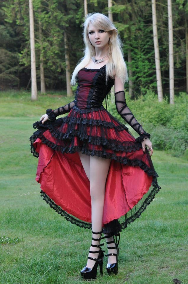 Gothic Red and Black latin style dress..skirt is shorter in front and longer in back