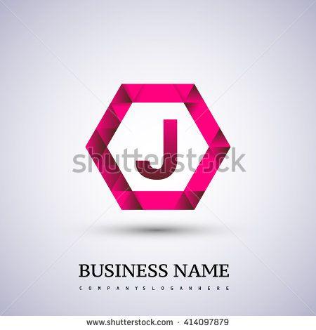 J Letter logo icon design template elements on red hexagonal. - stock vector