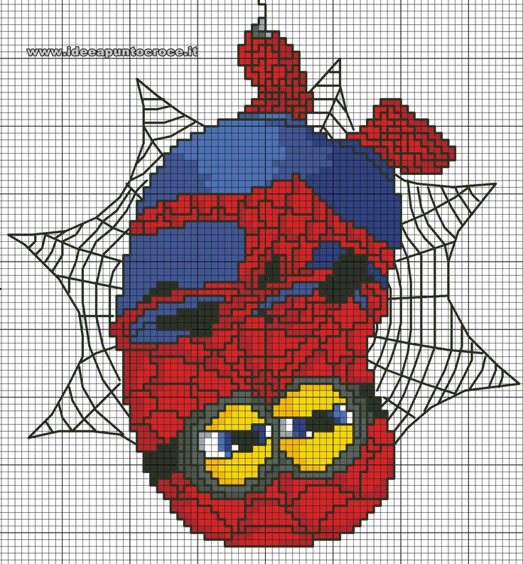 schema punto croce Minion Spiderman