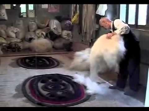 Felt Rug Making - Peace Industry - YouTube  I enjoy watching old school methods.  This man is pretty amazing.