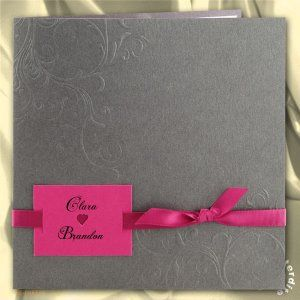 faire part mariage pochette grise irise ruban et encart rose rose - Faire Part Mariage Gris Et Fushia